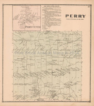 Perry New York Antique Map Beers 1866 Town
