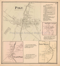 Pike Eagle Village New York Antique Map Beers 1866