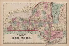 New York State Antique Map Nichols 1874