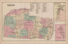Fayette Canoga New York Antique Map Nichols 1874