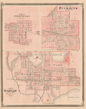 Pierceton Plymouth Warsaw Indiana Antique Map Baskin 1876