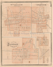 Kendallville Waterloo Ligonier Indiana Antique Map Baskin 1876