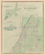 La Fayette Indiana Antique Map Baskin 1876
