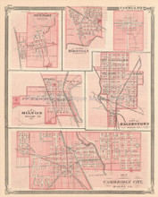 Cambridge Milton Ridgeville Indiana Antique Map Baskin 1876