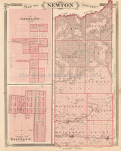 Newton White County Indiana Antique Map Baskin 1876