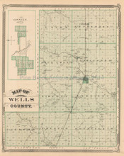 Wells Adams County Indiana Antique Map Baskin 1876