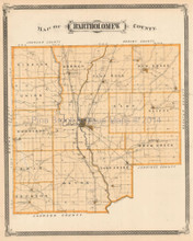 Bartholomew County Greenburg Hope Indiana Antique Map Baskin 1876