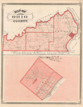 Ohio County Versailles Indiana Antique Map Baskin 1876