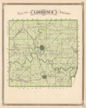 Lawrence Martin County Indiana Antique Map Baskin 1876