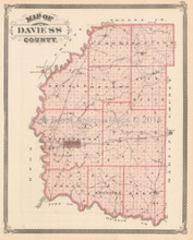 Daviess County Paoli Bedford Indiana Antique Map Baskin 1876