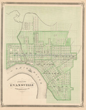 Floyd County Evansville Indiana Antique Map Baskin 1876