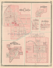 Green Castle Worthington Corydon Indiana Antique Map Baskin 1876