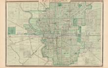 Indianapolis Indiana Antique Map Baskin 1876