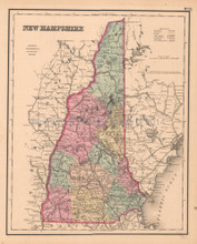 New Hampshire Antique Map Colton GW 1857