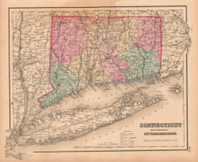 Connecticut Antique Map Colton GW 1857