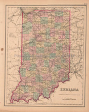 Indiana Antique Map Colton GW 1857