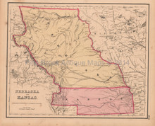Nebraska Kanzas Antique Map Colton GW 1857