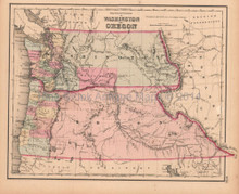 Washington Oregon Antique Map Colton GW 1857