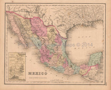 Mexico Antique Map Colton GW 1857
