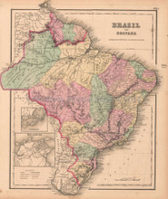 Brazil Guayana Brazilian Decor History Gift Ideas Antique Map Colton GW 1857