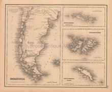 Patagonia Falkland Islands Antique Map Colton GW 1857
