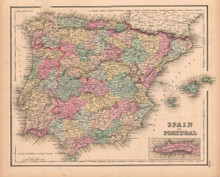 Spain Portugal Antique Map Colton GW 1857