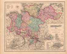 Northern Germany Antique Map Colton GW 1857