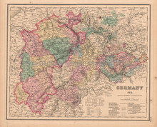 Middle Germany Antique Map Colton GW 1857