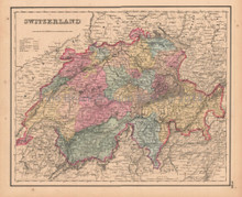 Switzerland Antique Map Colton GW 1857