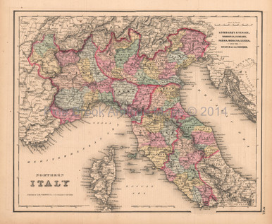 Northern Italy Antique Map Colton GW 1857 - Pine Brook Antique Maps