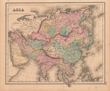 Asia Antique Map Colton GW 1857