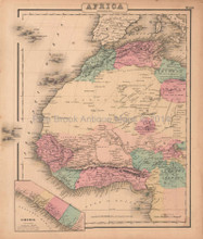Africa Northwest Antique Map Colton GW 1857