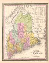 State Of Maine Antique Map DeSilver 1854