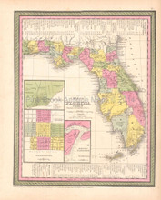 Florida Antique Map DeSilver 1854