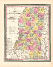 Mississippi Antique Map DeSilver 1854