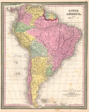 South American Continent Antique Map DeSilver 1854