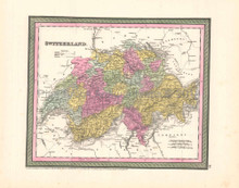Switzerland Antique Map DeSilver 1854