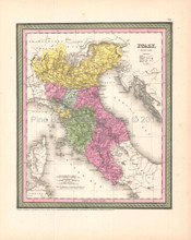 Italy North Antique Map DeSilver 1854