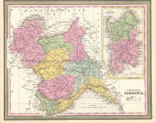Sardinia Kingdom Italy Antique Map DeSilver 1854
