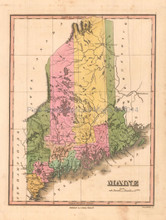 Maine Antique Map Anthony Finley 1824
