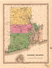 Rhode Island Antique Map Anthony Finley 1824