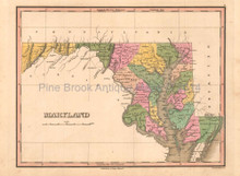 Maryland Antique Map Anthony Finley 1824