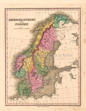 Denmark Sweden Norway Antique Map Anthony Finley 1824