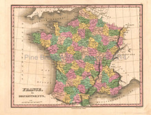 France Antique Map Anthony Finley 1824