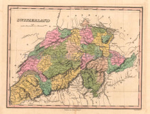 Switzerland Antique Map Anthony Finley 1824