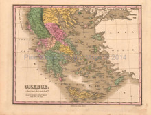 Greece Antique Map Anthony Finley 1824
