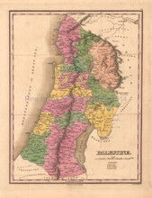 Palestine Antique Map Anthony Finley 1824