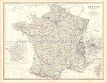 France Antique Map Johnston 1861