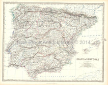 Spain Portugal Antique Map Johnston 1861