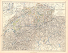 Switzerland Alps Antique Map Johnston 1861